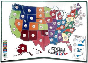Littleton Statehood Quarter Display Map with Territories LCLGB1A