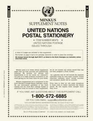 MINKUS UNITED NATION POSTAL STATIONERY 2016 #MKUNPS16