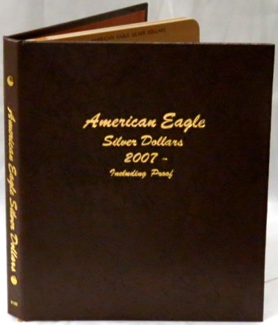 Dansco Album American Silver Eagle Dollars 07-10 including proofs; includes 2 blank pages DN8182