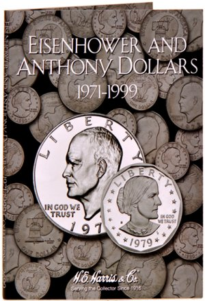 HE Harris Coin Folder Eisenhower and SBA Dollar, 1971-1999 HECF2699