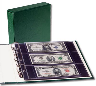 Littleton Small-Size Currency Portfolio with Slipcover (twenty 3-pocket currency pages hold 60 notes) #2567 LCA63
