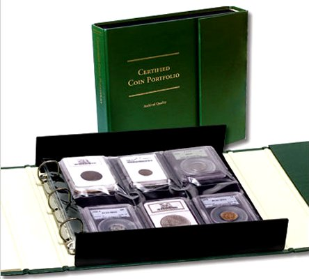 Littleton Certified Coin Portfolio (four 6-pocket pages hold 24 certified coins in holders) LCA67