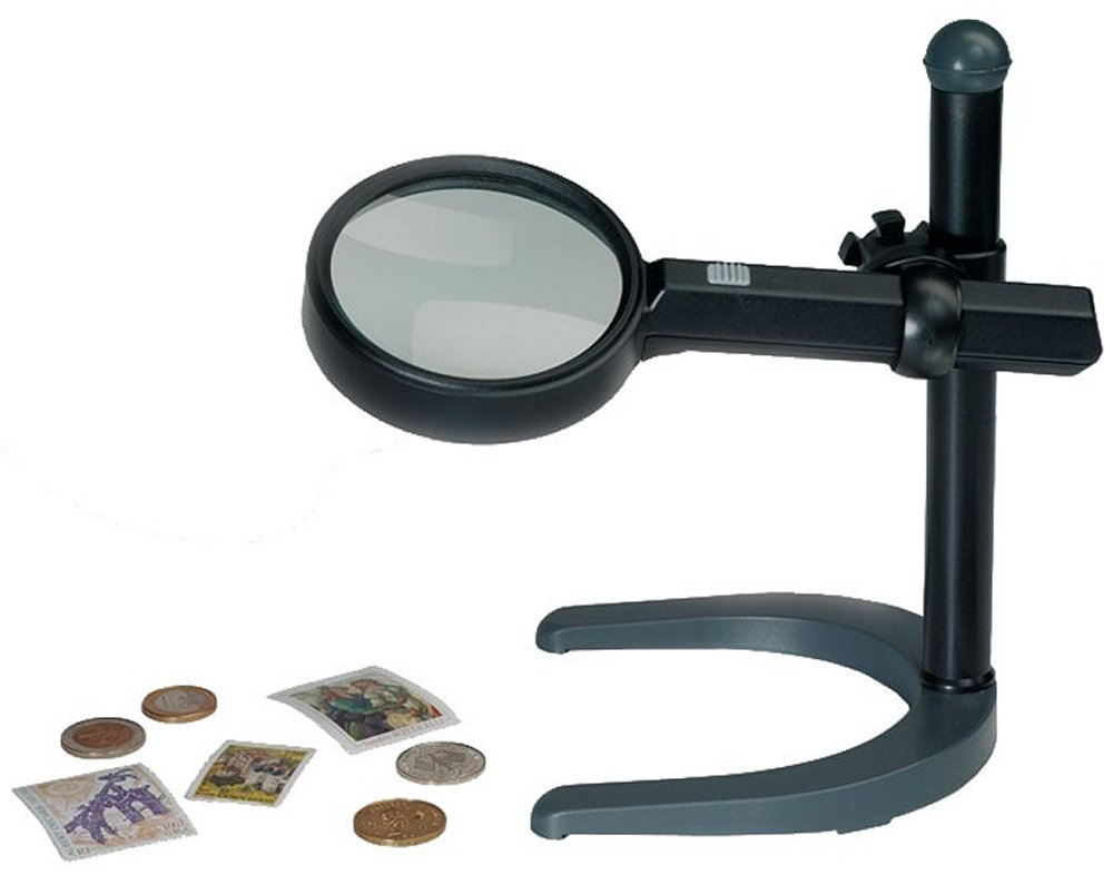 Lighted Magnifier with stand, 2.5x magnification. LHMAGLU160