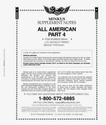 MINKUS All-American Part 4 (USA Booklet Panes) 2016 MKALLAM416
