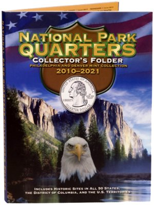 Whitman National Park Quarters, 4 panel 8x10 color cushioned w/foam, PD, 120 Coin, 2010-2021 WH2878