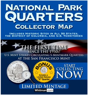 Whitman National Park Quarters Map - with Foam, 2010-2021  WHMAPNPF